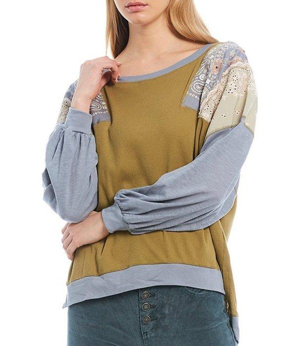 フリーピープル レディース Tシャツ トップス Feelin It Long Sleeve Patchwork Lace Embroidered Detail Cotton Blend Top Army