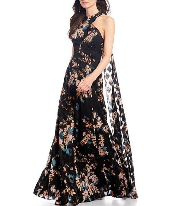 アレックスマリー レディース ワンピース トップス Shelby Floral Print Twist Halter Neck Gown Black/Rose