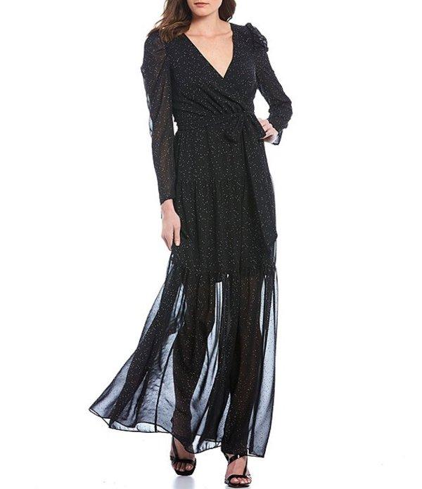 エリザジェイ レディース ワンピース トップス Dotted Ruffled Faux Wrap Ruched Shoulder Long Sleeve Maxi Dress Black