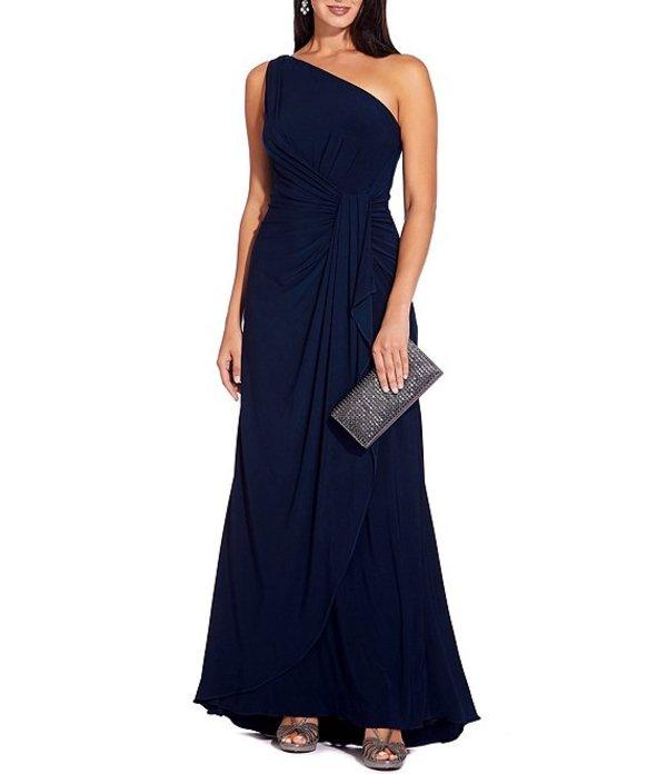 アドリアナ パペル レディース ワンピース トップス One Shoulder Matte Jersey Draped Gown Midnight