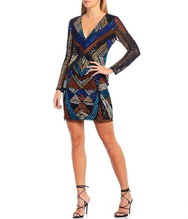アイダンアイダンマトックス レディース ワンピース トップス Hand Beaded Long Sleeve Allover Sequin Cocktail Dress Multi