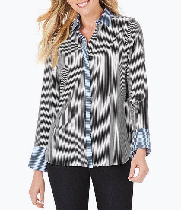 フォックスクラフト レディース シャツ トップス Kyla Long Sleeve Stripe Button Front Blouse Black