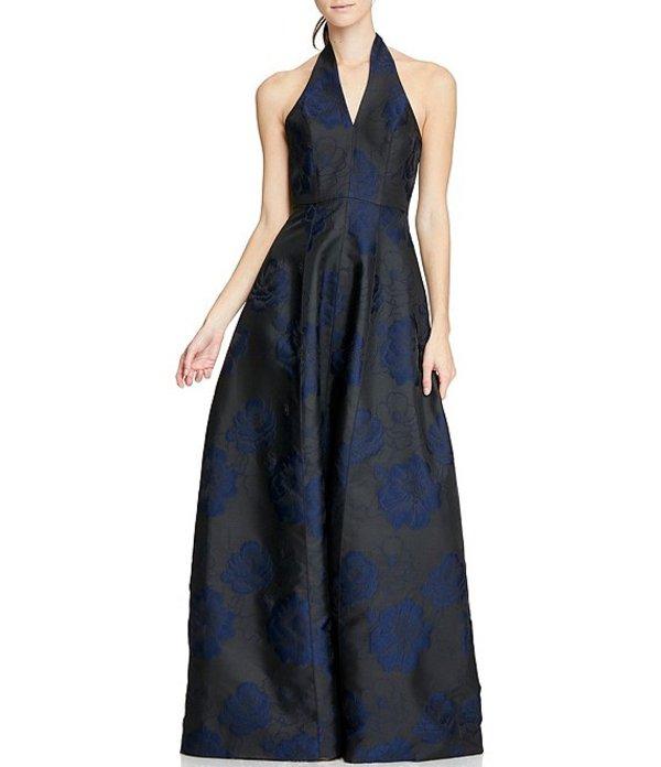 ホルストンヘリテイジ レディース ワンピース トップス Heritage Halter Jacquard Floral Gown Black/Navy