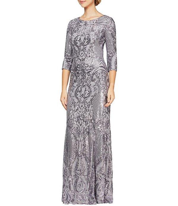 アレックスイブニングス レディース ワンピース トップス Baroque Inspired Sequin V Back Gown Lilac