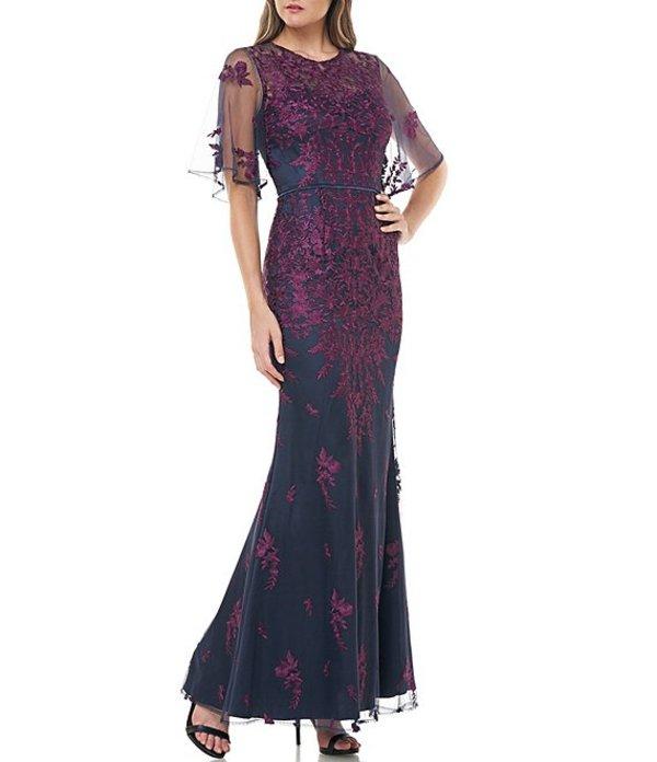 ジェイエスコレクションズ レディース ワンピース トップス Illusion Embroidered Capelet Gown Plum/Navy