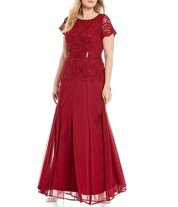 マリナ レディース ワンピース トップス Plus Size Lace Bodice Long Gown Medium Red