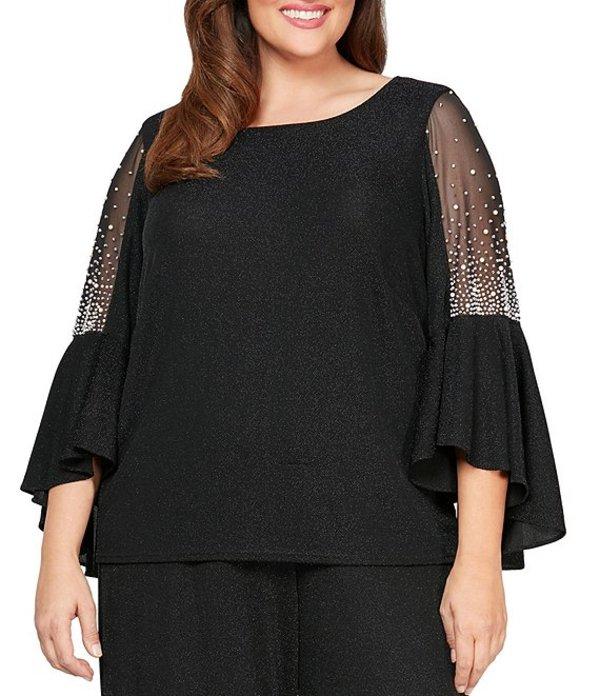 アレックスイブニングス レディース ワンピース トップス Plus Size Metallic Knit Pearl Trim Illusion Bell Sleeve Blouse Black