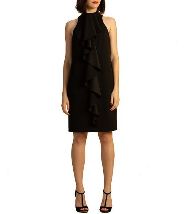 トリーナターク レディース ワンピース トップス Ruffle Front Halter Crepe Knit Dress Black