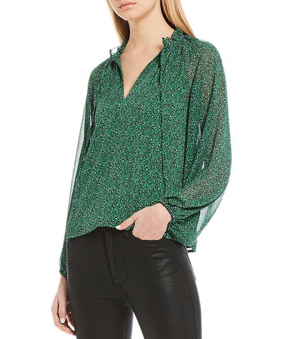 サンクチュアリー レディース シャツ トップス Live It Up Volume Sleeve Leopard Print Blouse Mini Emerald Leopard