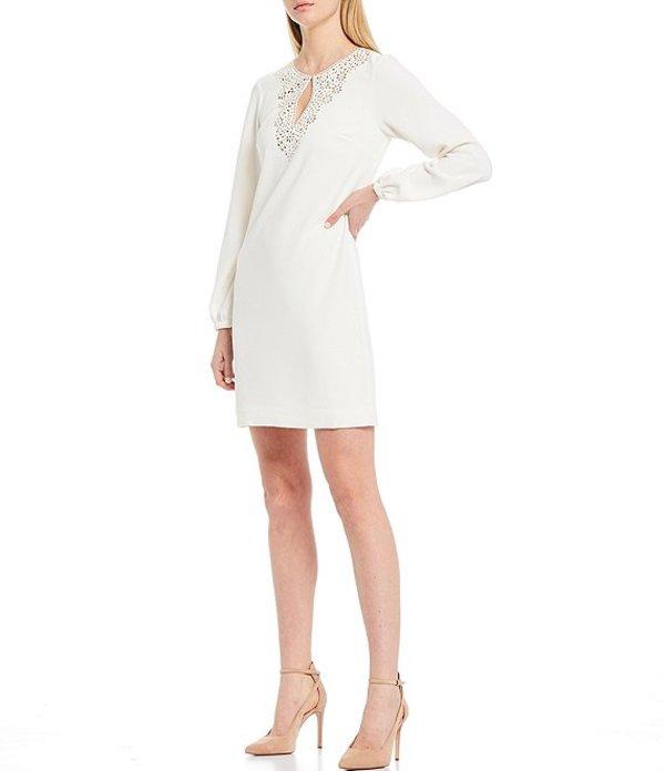 トリーナターク レディース ワンピース トップス Tangle Embellished Keyhole Neck Dress Whitewash