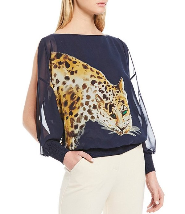 トリーナターク レディース シャツ トップス Tropics Leopard Graphic Print Split Long Sleeve Blouse Indigo