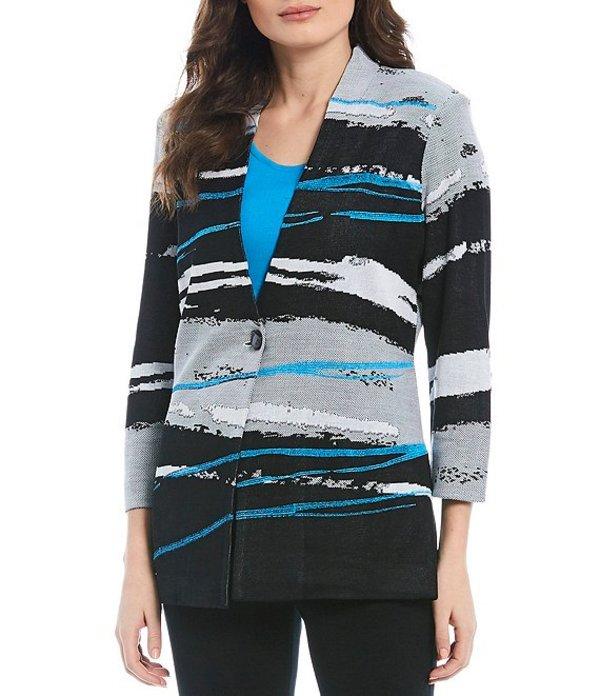 ミンウォン レディース ジャケット・ブルゾン アウター Embroidered Detail 3/4 Sleeve Jacket Black/Azure Blue/White