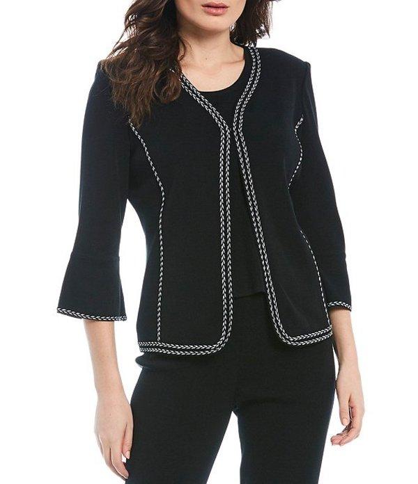 ミンウォン レディース ジャケット・ブルゾン アウター 3/4 Sleeve Braid Trim Jacket Black/White