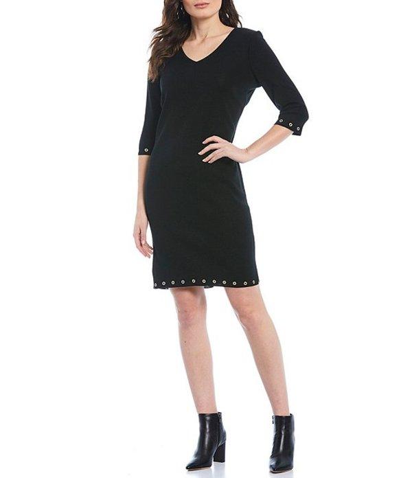 ミンウォン レディース ワンピース トップス 3/4 Sleeve Grommet Trim Dress Black
