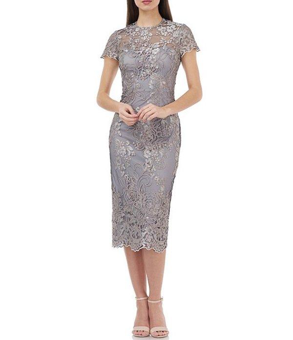 ジェイエスコレクションズ レディース ワンピース トップス Js Collections Metallic Embroidered Midi Sheath Dress Taupe