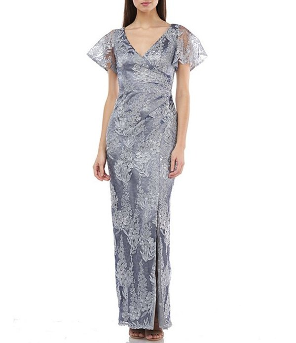 ジェイエスコレクションズ レディース ワンピース トップス Metallic Lace Surplice Flutter Sleeve Front Side Slit Gown Silver/Navy