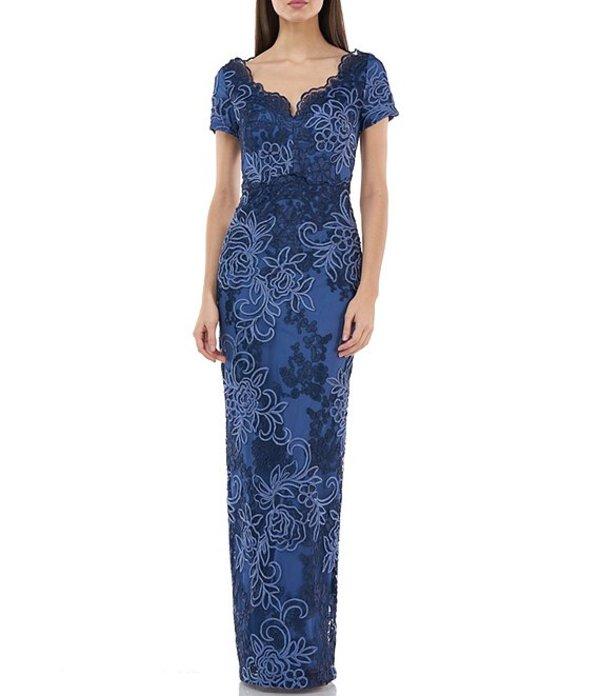 ジェイエスコレクションズ レディース ワンピース トップス Scalloped Sweetheart Neck Embroidered Gown Blue Multi