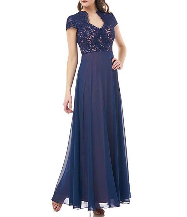 ジェイエスコレクションズ レディース ワンピース トップス Illusion Lace Bodice Chiffon Gown Navy/Rose