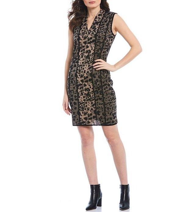 ミソック レディース ワンピース トップス Sleeveless V-Neck Leopard Print Dress Macchiato/Black