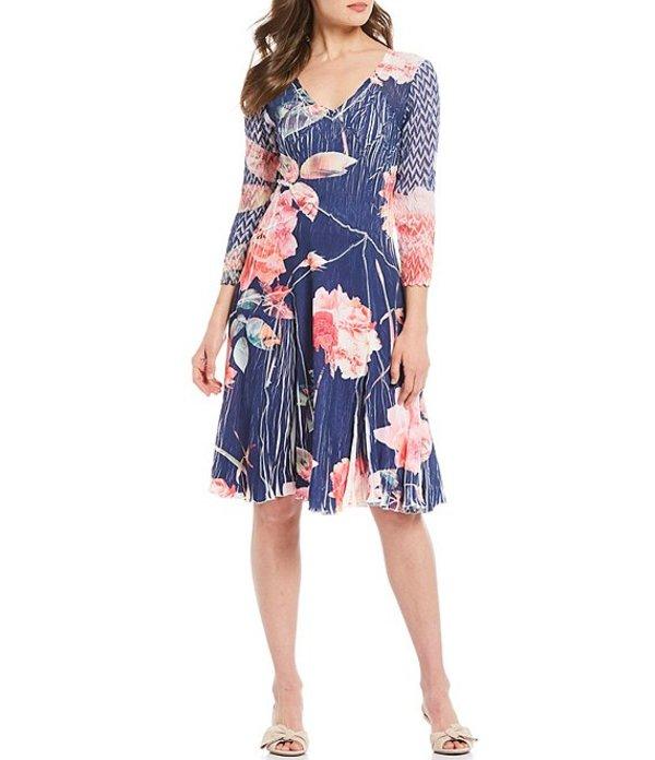 コマロフ レディース ワンピース トップス Floral Print 3/4 Chiffon Sleeve Georgette Dress Vibrant Bouquet