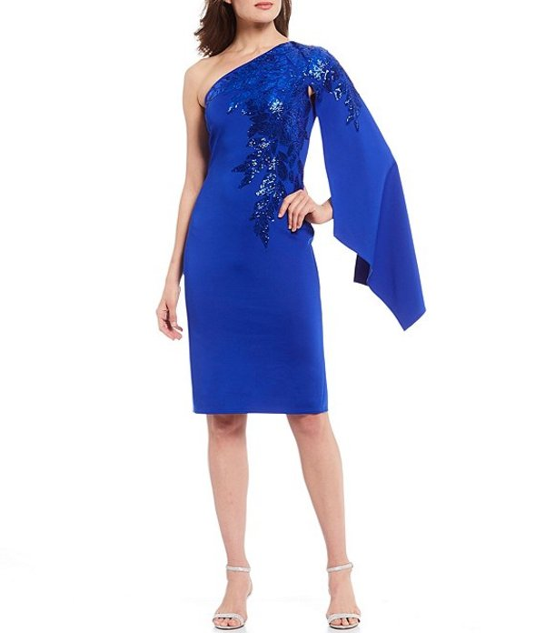 タダシショージ レディース ワンピース トップス One Shoulder Sequin Long Sleeve Cape Neoprene Dress Lapis Blue