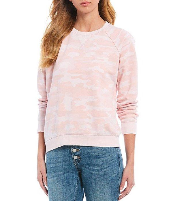 ラッキーブランド レディース Tシャツ トップス Classic Burnout Crew Neck Camo Print Sweatshirt Pink