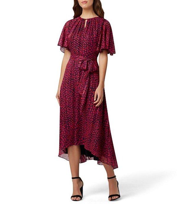 タハリエーエスエル レディース ワンピース トップス Dot Print Flutter Sleeve Midi Dress Navy Pink Dot