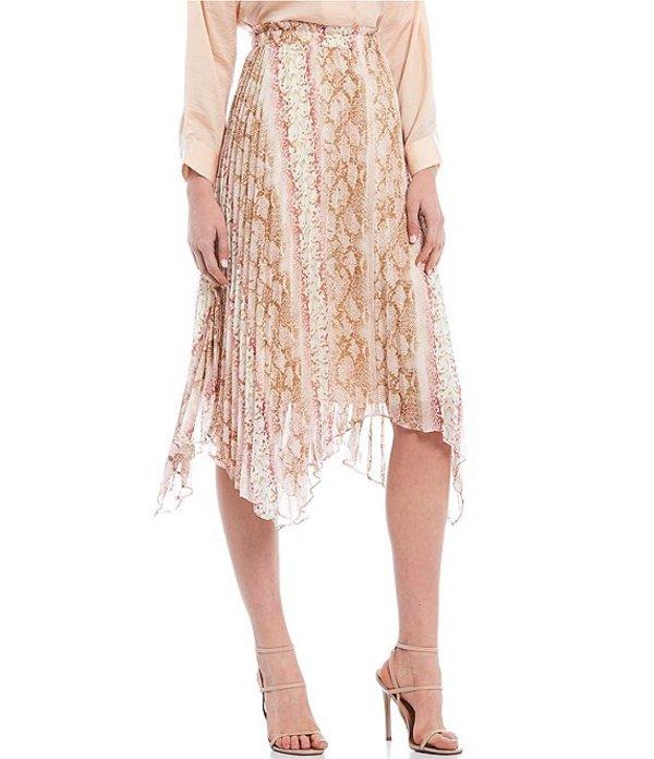 ルーシーパリ レディース スカート ボトムス Alina Snake Print Asymmetrical Pleated Midi Skirt Pink Snake