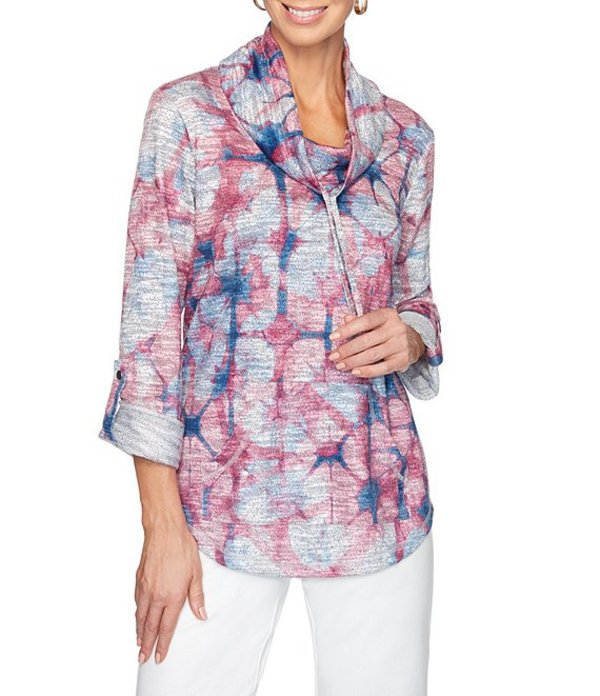 ルビーアールディー レディース Tシャツ トップス Kanoko Tie Dye Drawstring Cowl Neck Roll-Tab Sleeve Pullover Dusty Pink Multi