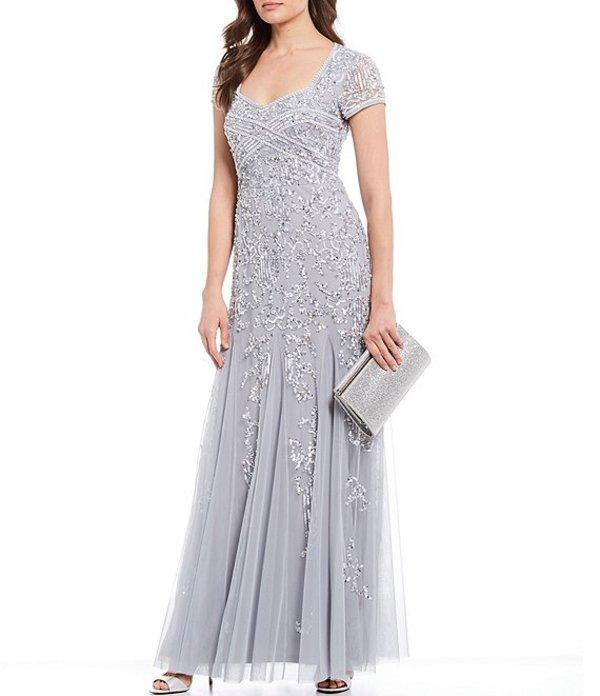 アドリアナ パペル レディース ワンピース トップス Jewel Neck Beaded Godet Gown Silver Mist