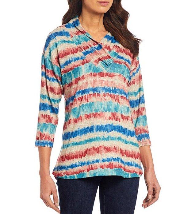 マルチプルズ レディース Tシャツ トップス Multi Color Stripe Cowl Wrap Collar 3/4 Sleeve Hi-Low Knit Top Multi Stripe