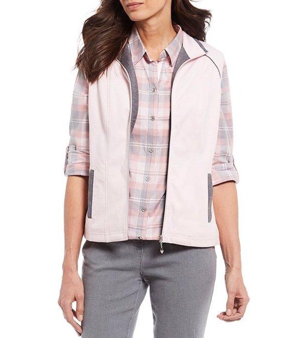 アリソン デイリー レディース ベスト アウター Petite Size San Remo Knit Contrast Trim Zip Front Vest Shell Pink