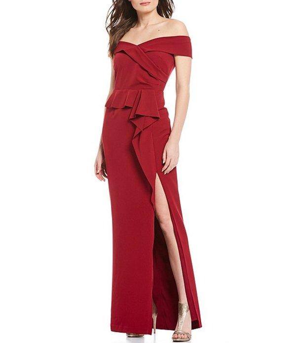 マリナ レディース ワンピース トップス Off-the-Shoulder Peplum Ruffle Gown Wine