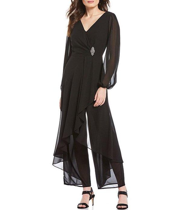 マリナ レディース ワンピース トップス Chiffon Overlay Long Sleeve V-Neck Jumpsuit Black