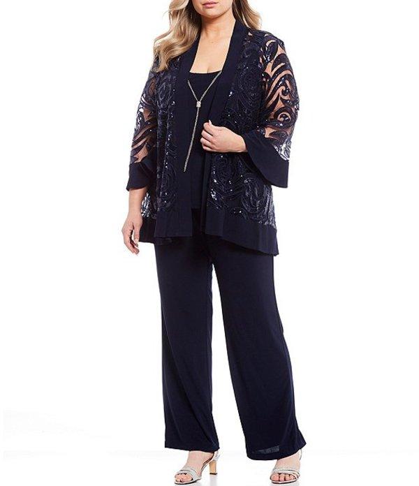 アールアンドエムリチャーズ レディース ワンピース トップス Plus Size Swirl Sequin Jacket 3-Piece Pant Set Navy