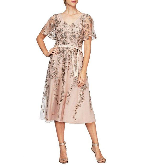 アレックスイブニングス レディース ワンピース トップス Floral Embroidered A-Line Midi Dress Mocha