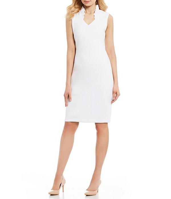 カルバンクライン レディース ワンピース トップス Ruffle Stand Collar V-Neck Sleeveless Sheath Dress White
