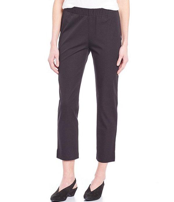 エイリーンフィッシャー レディース カジュアルパンツ ボトムス Cotton Blend Stretch Twill Midrise Ankle Pants With Slits Black