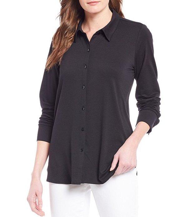 エイリーンフィッシャー レディース シャツ トップス Jersey Classic Collar Shirt Black