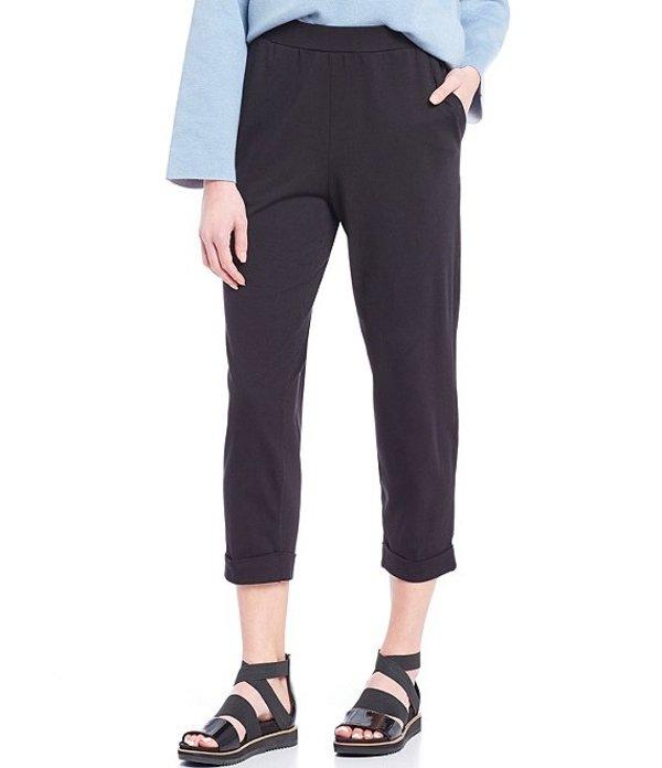 エイリーンフィッシャー レディース カジュアルパンツ ボトムス Organic Cotton Stretch Jersey Slouchy Cropped Pant With Faux Cuff Black