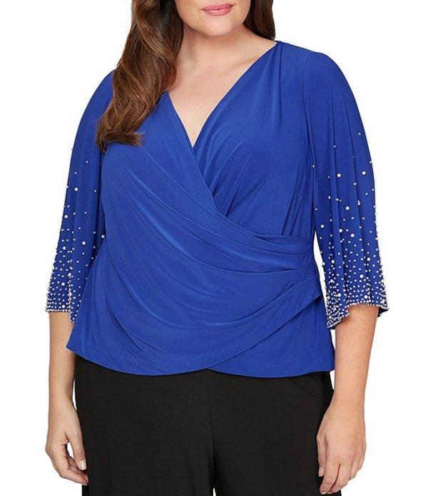 アレックスイブニングス レディース シャツ トップス Plus Size Matte Jersey 3/4 Embellished Sleeve Surplice Blouse Royal