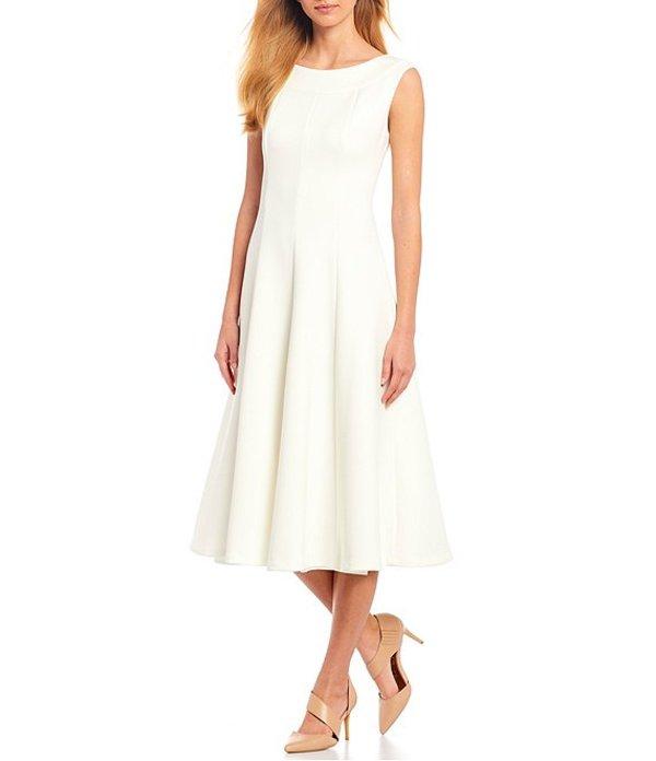 カルバンクライン レディース ワンピース トップス Scuba Boat Neckline Sleeveless Fit and Flare Dress Cream