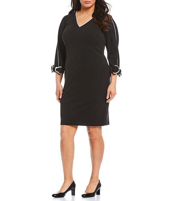 カルバンクライン レディース ワンピース トップス Plus Size Scuba Crepe Piping Trim Sheath Dress Black/White