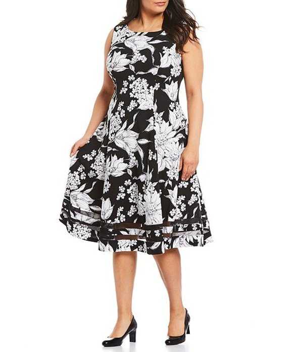 カルバンクライン レディース ワンピース トップス Plus Size Scuba Crepe Floral Sleeveless Fit and Flare Illusion Hem Midi Dress Black/Multi
