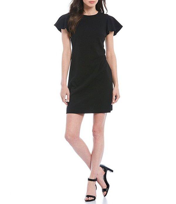 カルバンクライン レディース ワンピース トップス Scuba Crepe Ruffle Sleeve Shift Dress Black