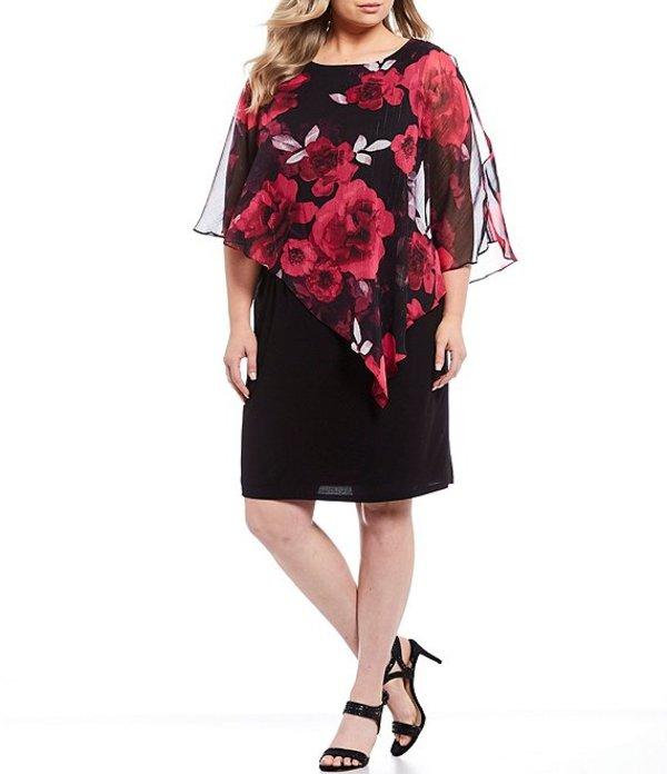 イグナイト レディース ワンピース トップス Plus Size Embellished Shoulder Chiffon Floral Print Popover Sheath Dress Black/Multi