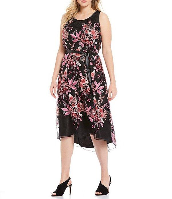 タハリエーエスエル レディース ワンピース トップス Plus Size Floral Embroidered Halter Midi Dress Black/Pink