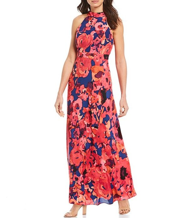 タハリエーエスエル レディース ワンピース トップス Petite Size Mock Neck Floral Print Chiffon Maxi Dress Navy/Fuchsia