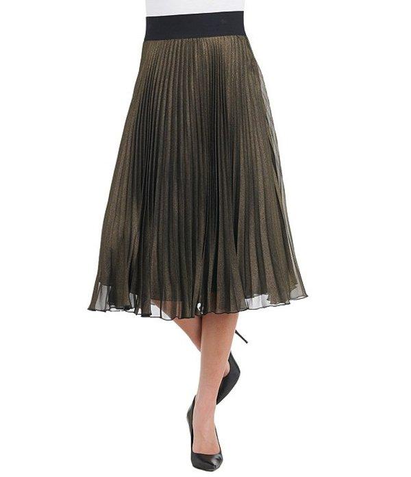 ピーター ナイガード レディース スカート ボトムス Iconic Foil Print Georgette Pleated Midi Skirt Black/Antique Gold