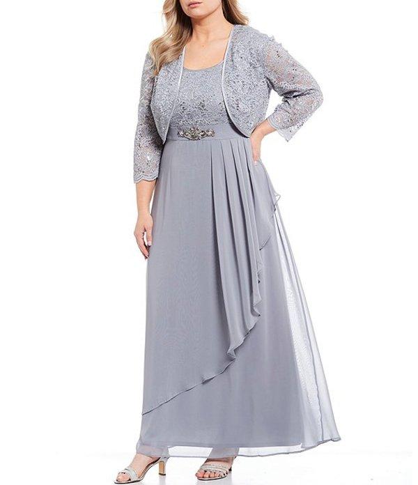 ジェシカハワード レディース ワンピース トップス Plus Size Lace Jacket Chiffon Ruffle Long Gown Steel